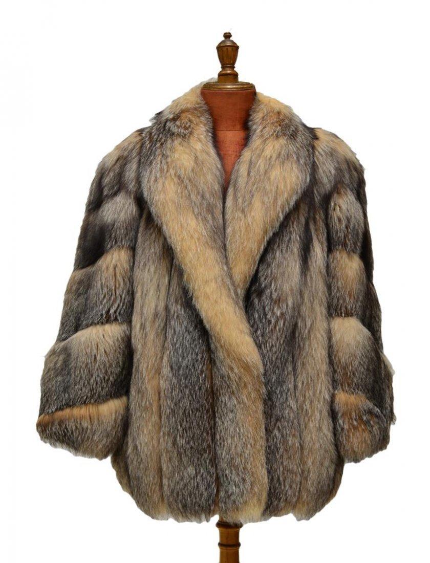 FINE LADIES KOSLOWS DYED CRYSTAL FOX FUR COAT