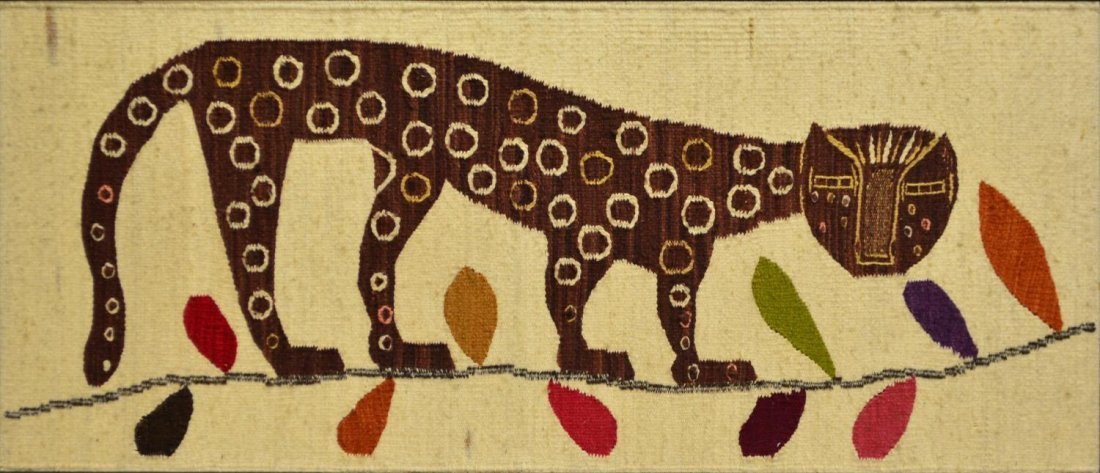 MID-CENTURY WOOL TAPESTRY, SPOTTED CAT ON A BRANCH