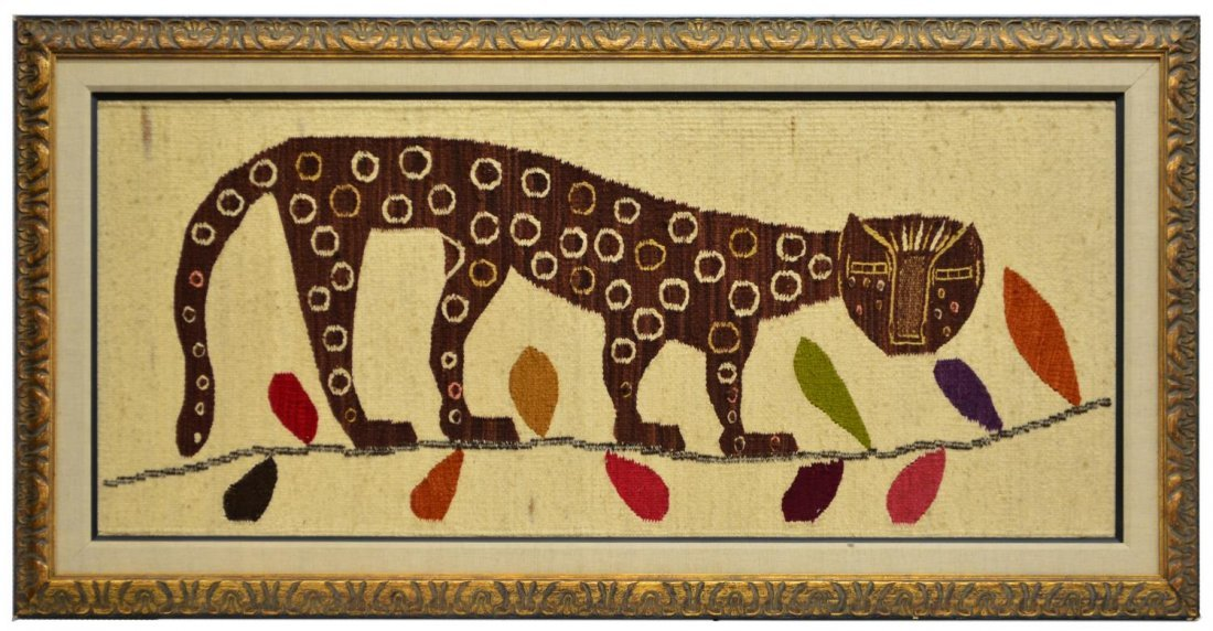 MID-CENTURY WOOL TAPESTRY, SPOTTED CAT ON A BRANCH - 2