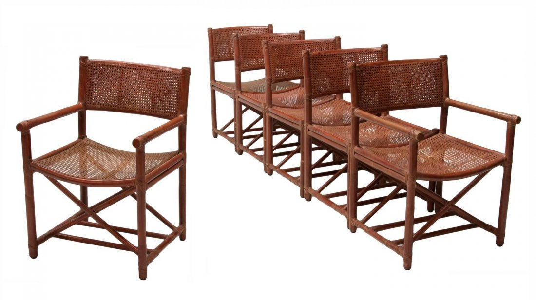 (6) BAMBOO & CANE CHAIRS, McGUIRE SAN FRANCISCO