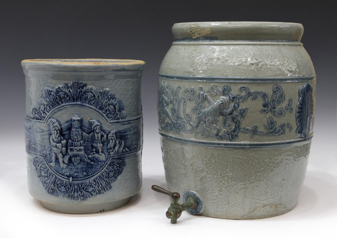 (2) ANTIQUE STONEWARE COOLERS WITH DRUNKEN GNOMES