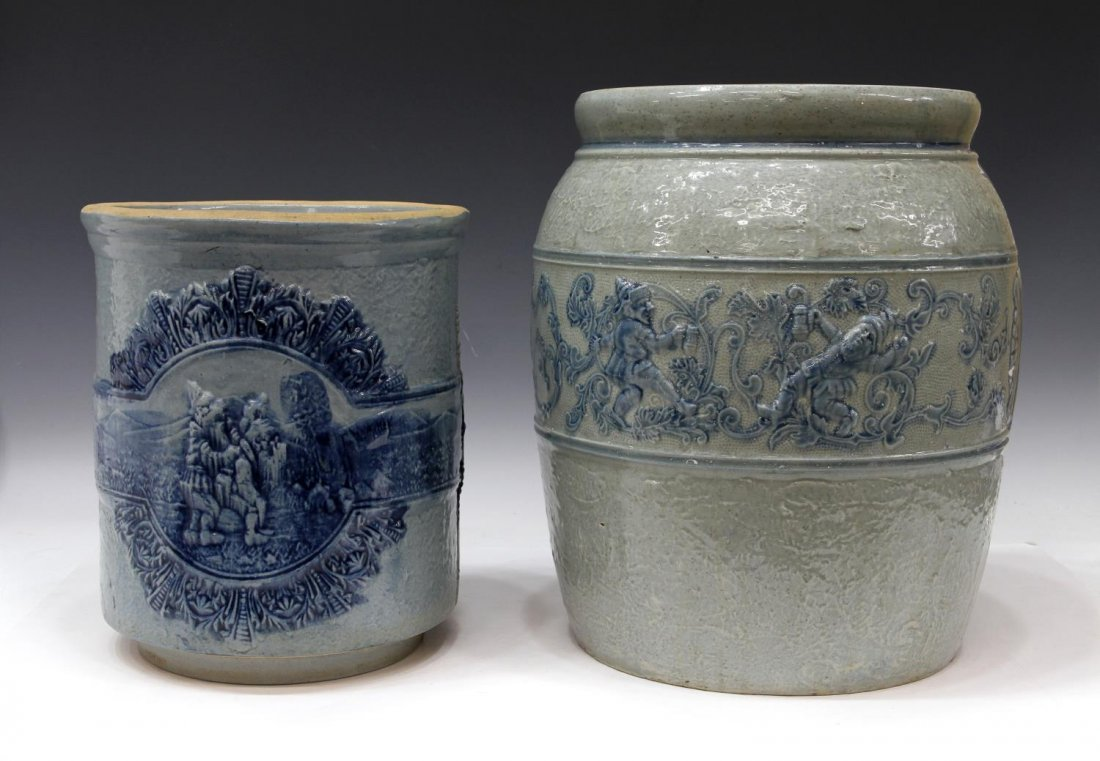 (2) ANTIQUE STONEWARE COOLERS WITH DRUNKEN GNOMES - 2