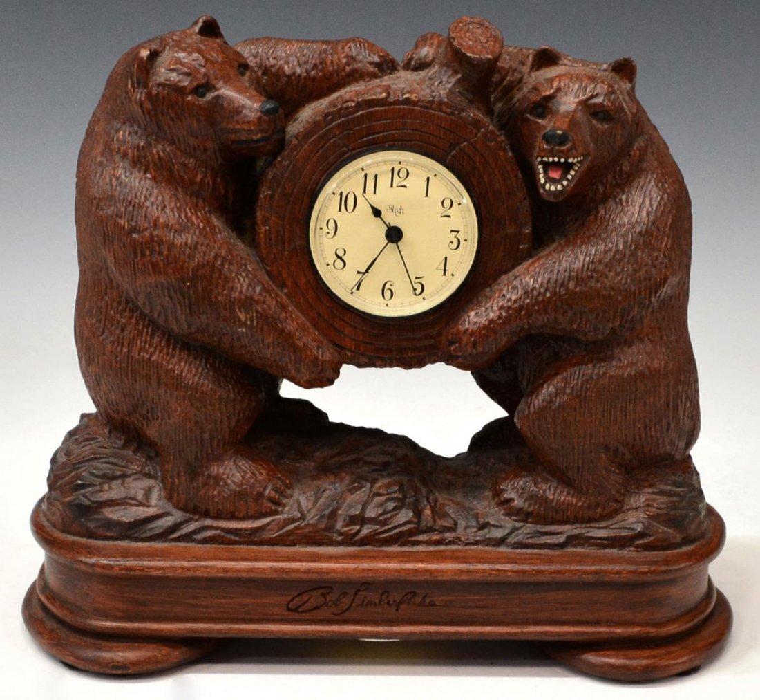 TWO BEAR SLIGH CLOCK, BOB TIMBERLAKE DESIGN