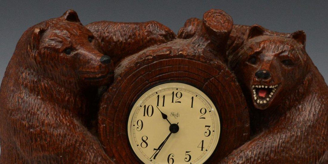 TWO BEAR SLIGH CLOCK, BOB TIMBERLAKE DESIGN - 2