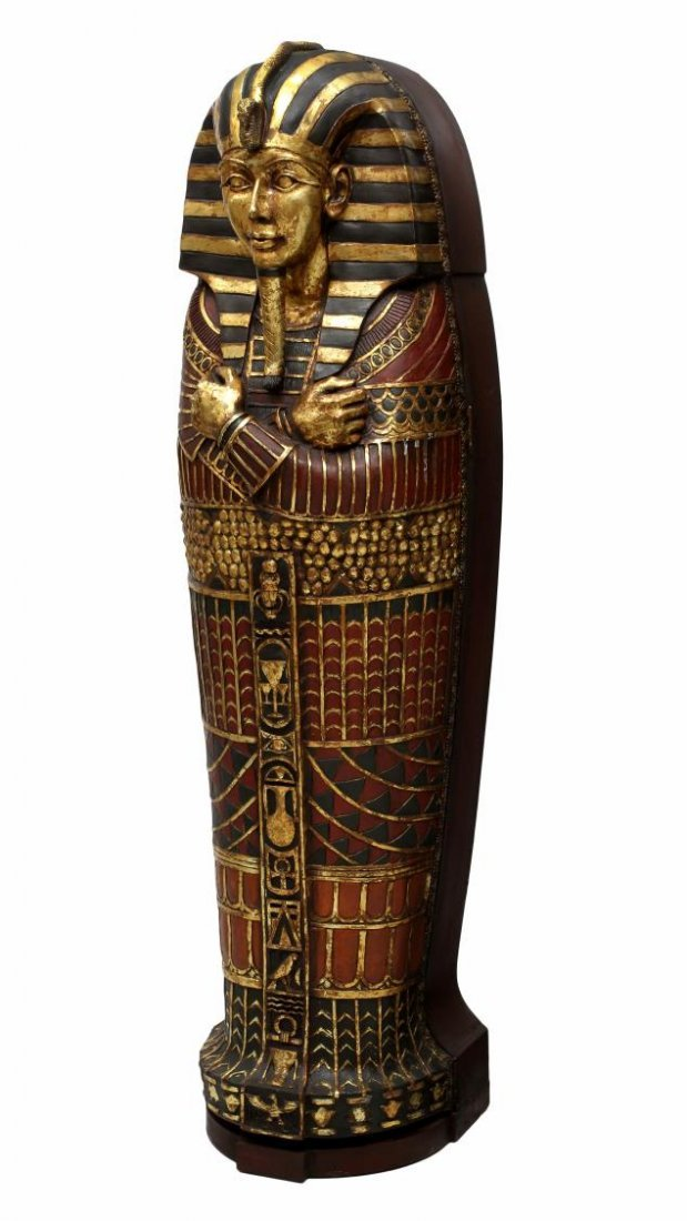 "KING TUT EGYPTIAN SARCOPHAGUS CABINET, 75""H"