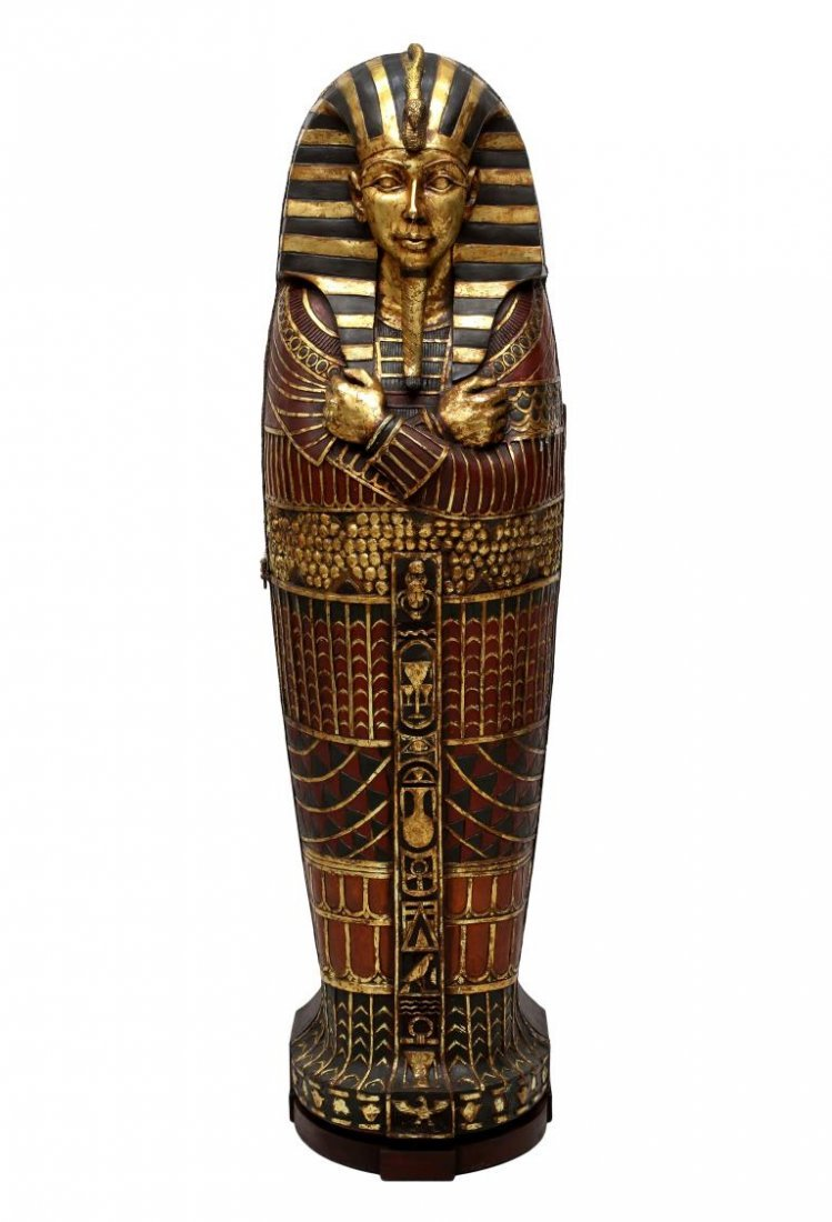 "KING TUT EGYPTIAN SARCOPHAGUS CABINET, 75""H - 3"