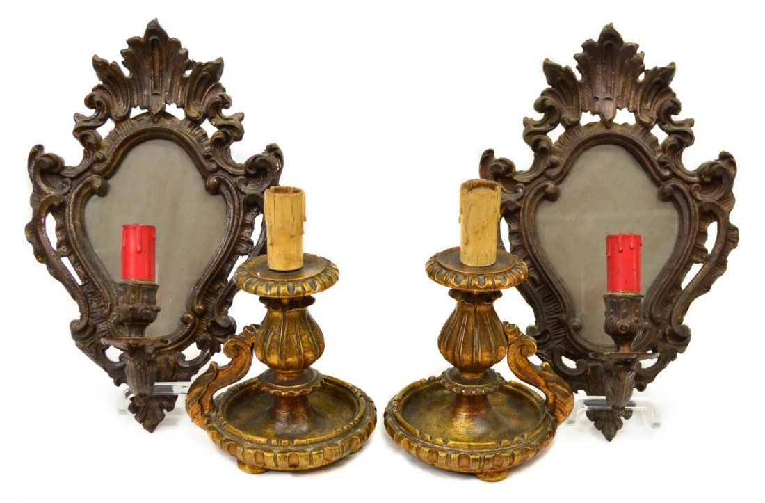(4) LOUIS XV STYLE SCONCES & GILTWOOD CANDLESTICKS