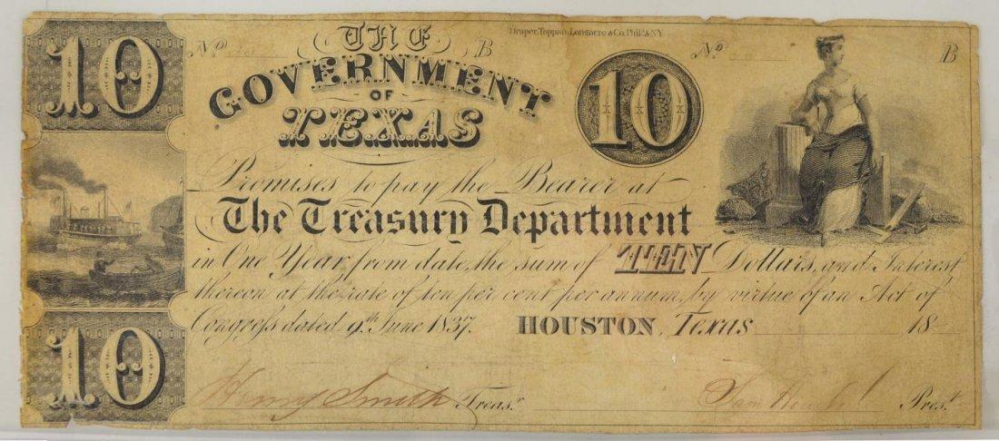REPUBLIC OF TEXAS $10 SAM HOUSTON NOTE