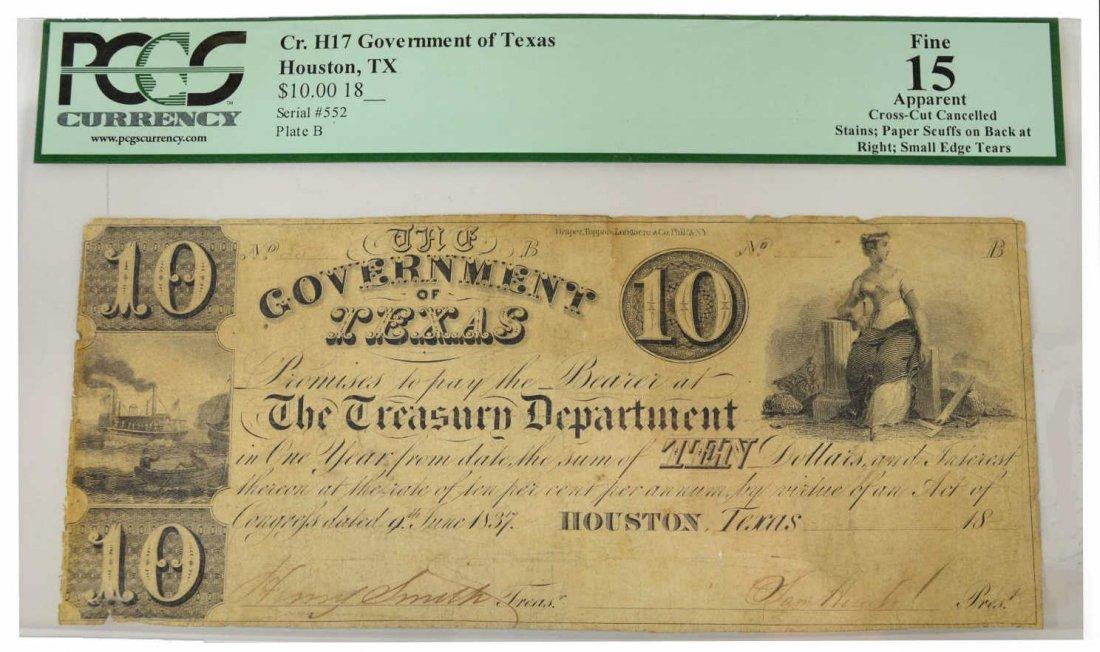REPUBLIC OF TEXAS $10 SAM HOUSTON NOTE - 2