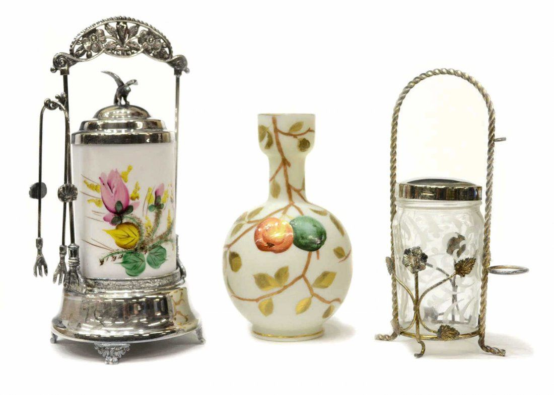 (3) VICTORIAN CASED & ETCHED GLASS CASTORS & VASE