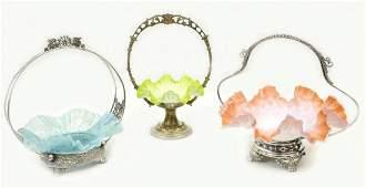 (3) VICTORIAN SATIN ART GLASS SILVERPLATE BASKETS