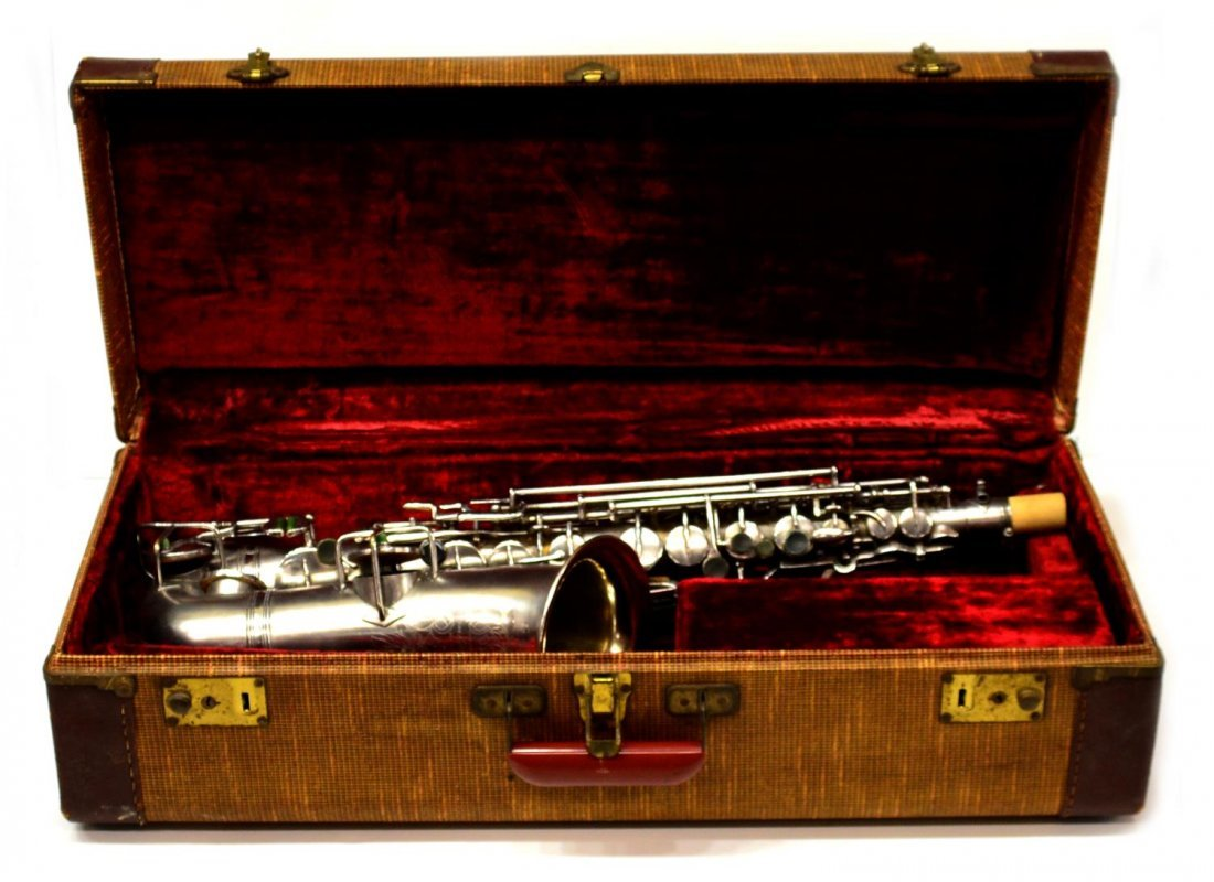 CASED FRANK HOLTON COMPANY SILVERPLATE SAXOPHONE - 2