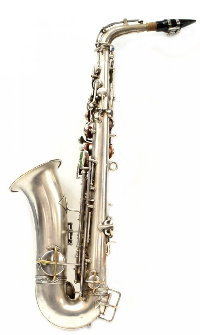 CASED FRANK HOLTON COMPANY SILVERPLATE SAXOPHONE - 3