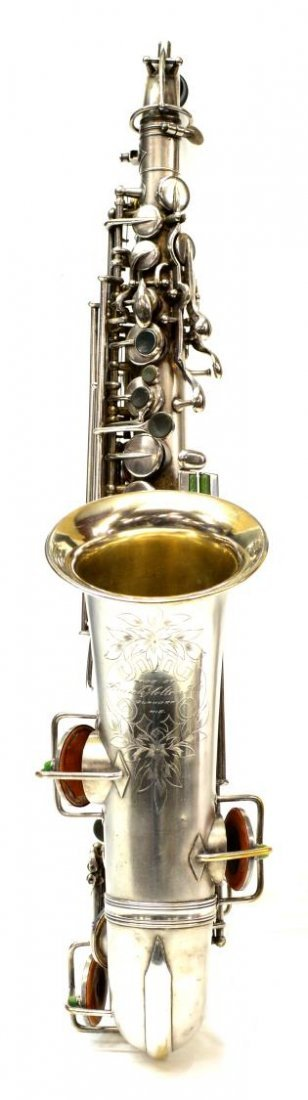 CASED FRANK HOLTON COMPANY SILVERPLATE SAXOPHONE - 4