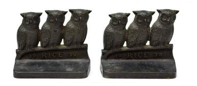 2 1939 RICE UNIVERSITY OWLS BRONZE BOOKENDS