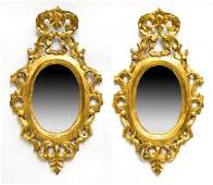 (2) SPANISH BAROQUE STYLE GILTWOOD WALL MIRRORS