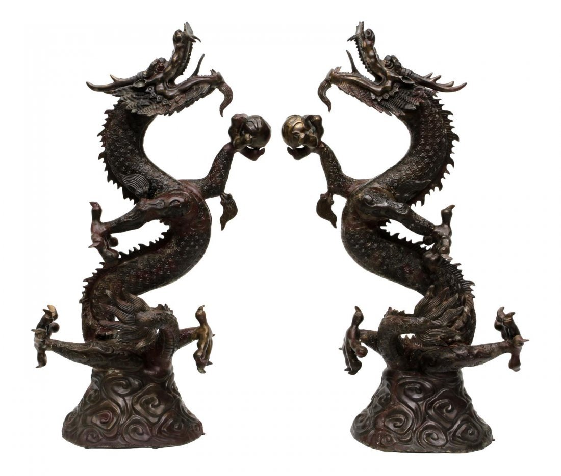 (2) LARGE CHINESE PATINATED BRONZE DRAGONS