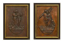 2 VINTAGE GERMAN RELIEF COPPER WALL PLAQUES