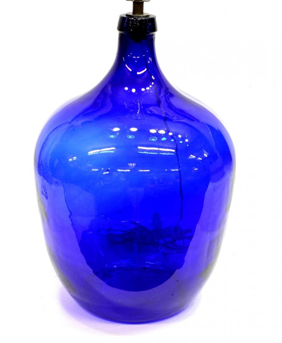 LARGE COBALT BLUE GLASS BALON WINE JUG TABLE LAMP