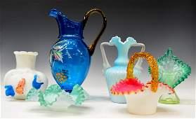 6 VICTORIAN SATIN  ENAMELED ART GLASS GROUP