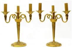 (2) ITALIAN GILT BRASS CANDELABRA TABLE LAMPS