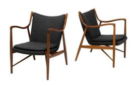 (PAIR) SIGNED FINN JUHL NV-45 NIELS VODDER CHAIRS