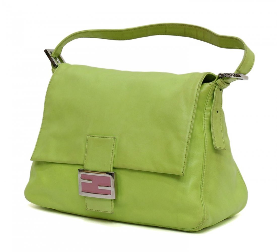FENDI MAMMA LIME GREEN LEATHER HANDBAG