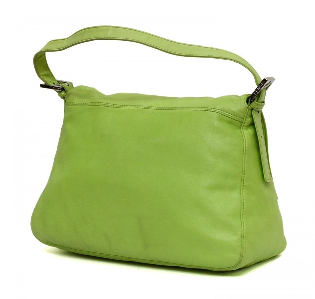 FENDI MAMMA LIME GREEN LEATHER HANDBAG - 2