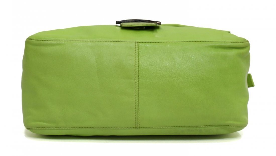 FENDI MAMMA LIME GREEN LEATHER HANDBAG - 3
