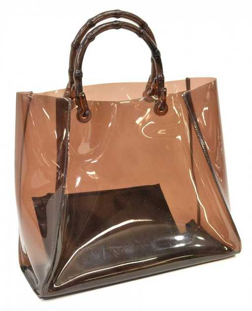 74a4935ae81 GUCCI BROWN PLASTIC BAMBOO HANDLED TOTE BAG