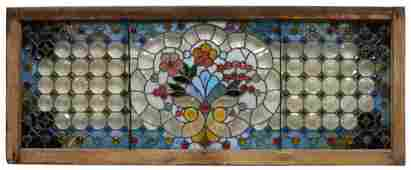 LARGE JEWELED LEADED  STAINED GLASS WINDOW