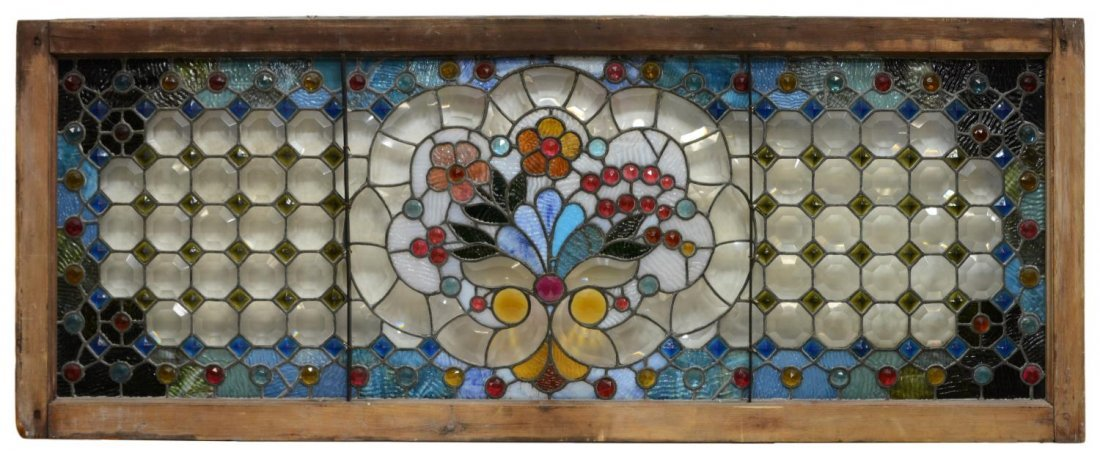 LARGE JEWELED LEADED & STAINED GLASS WINDOW