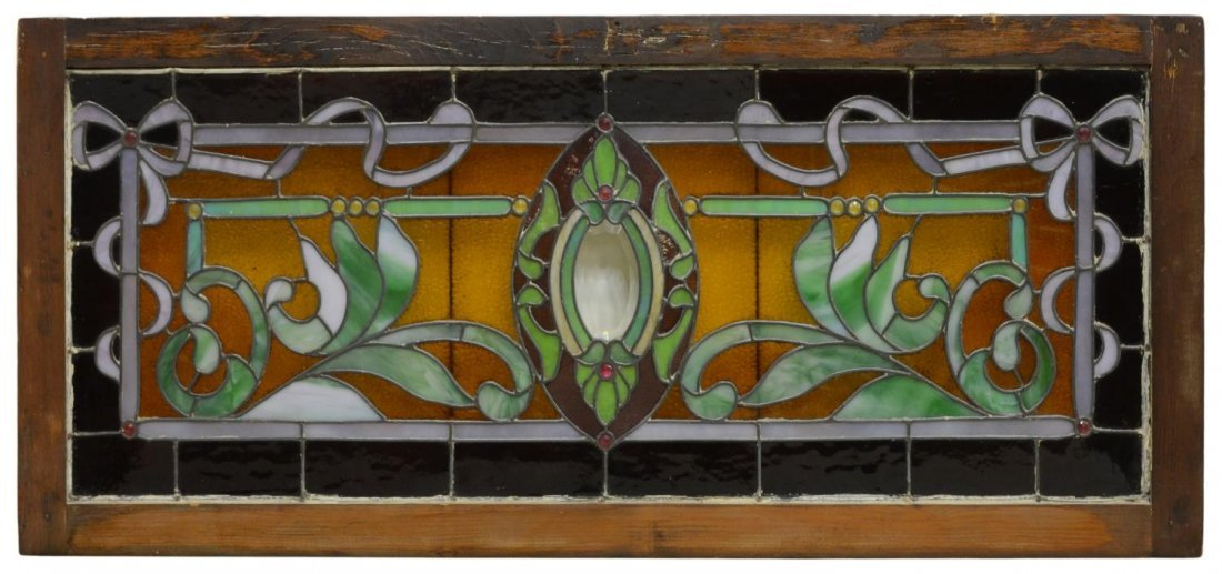 JEWELED & LEADED STAINED GLASS WINDOW
