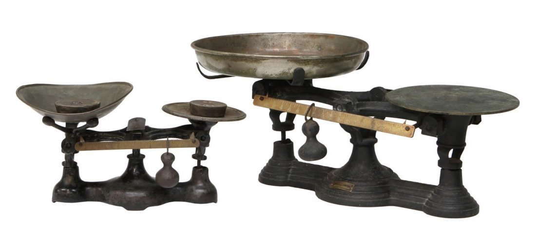 (2) ANTIQUE COUNTRY GENERAL STORE BALANCE SCALES