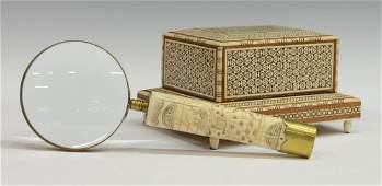 (2) ARABESQUE MUSICAL CIGARETTE BOX & MAGNIFIER