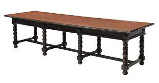 """LARGE FRENCH WORK TABLE, 126""""L"""