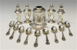 (14) COLLECTION STERLING & SILVERPLATE TABLE ITEMS