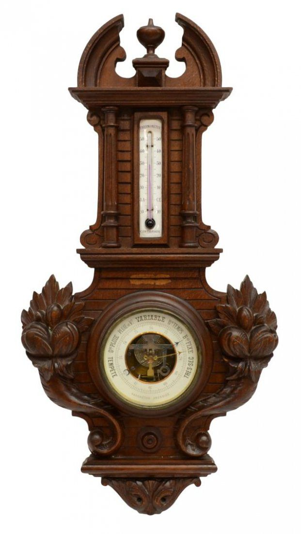 FRENCH CARVED WOOD BAROMETER / THERMOMETER