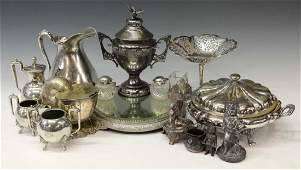 HUGE COLLECTION VICTORIAN SILVERPLATE, FIGURAL