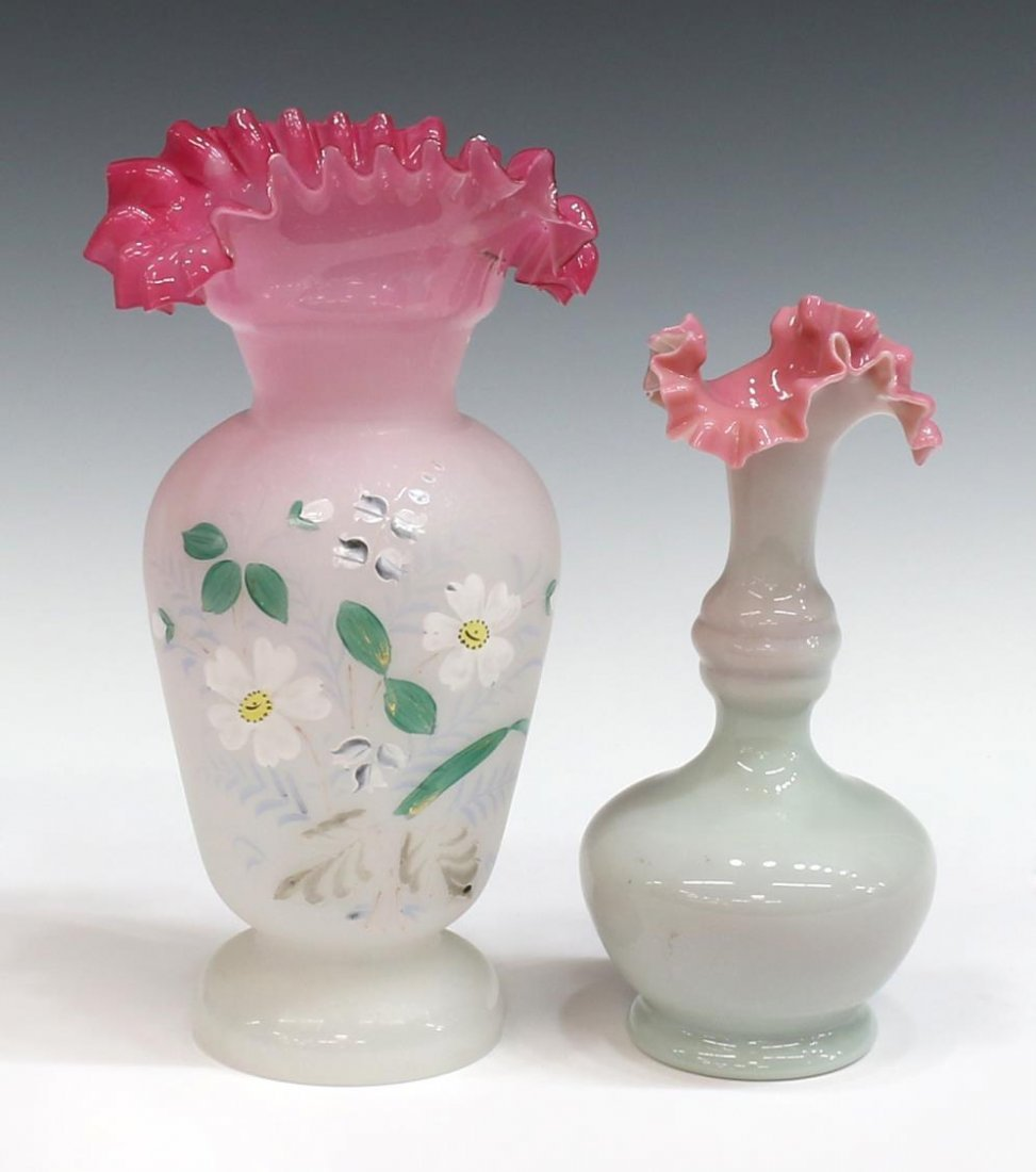 (6) VICTORIAN & VINTAGE ART GLASS VASES & EWERS - 2