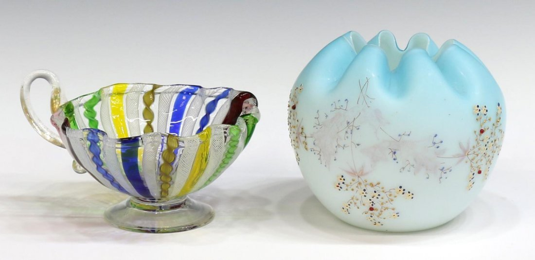 (6) VICTORIAN & VINTAGE ART GLASS VASES & EWERS - 4