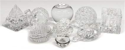 9 WATERFORD ART CRYSTAL PAPERWEIGHTS