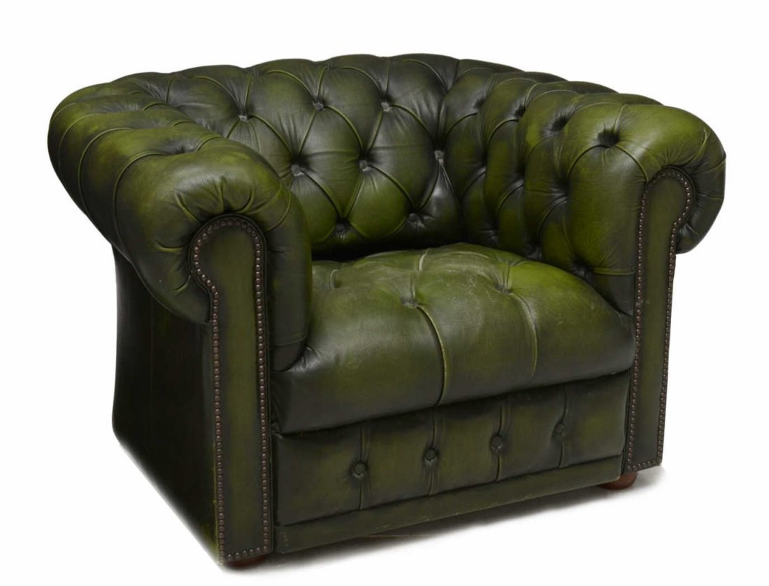 CHESTERFIELD TUFTED GREEN LEATHER ARMCHAIR