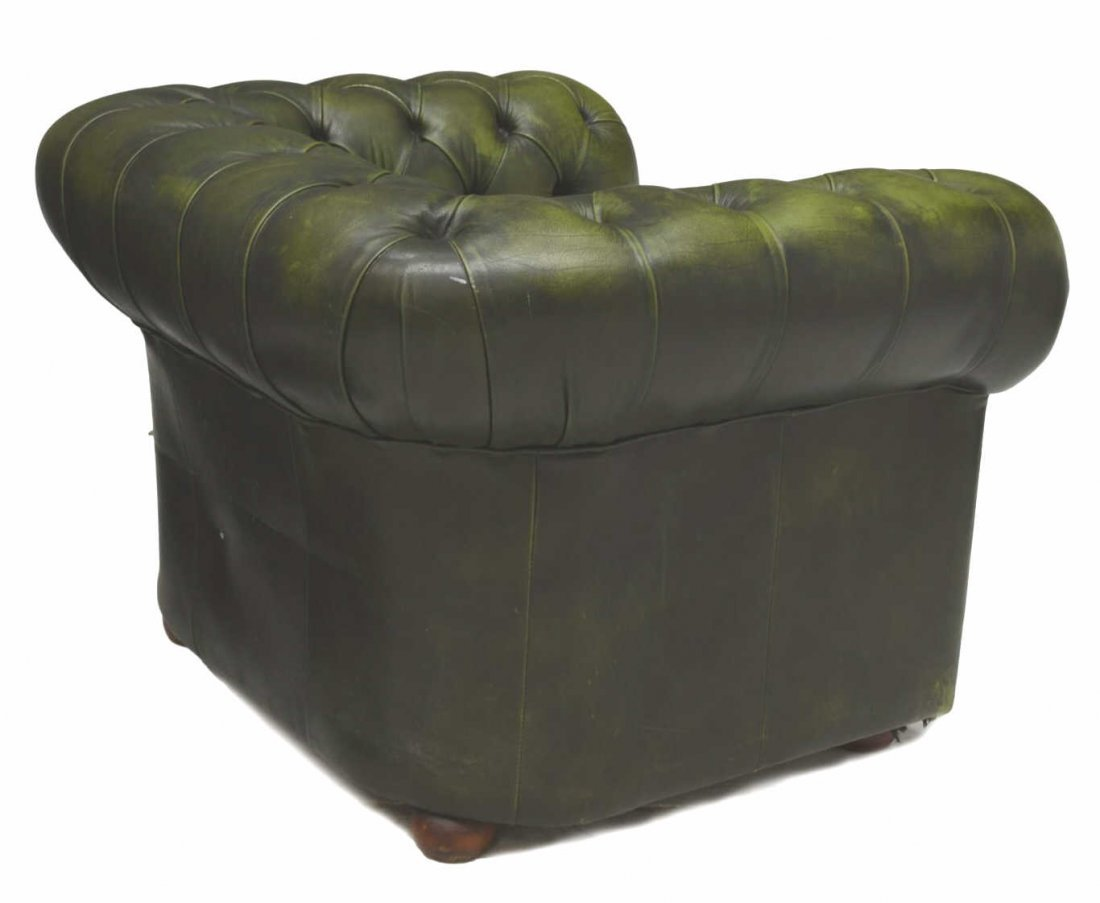 CHESTERFIELD TUFTED GREEN LEATHER ARMCHAIR - 2