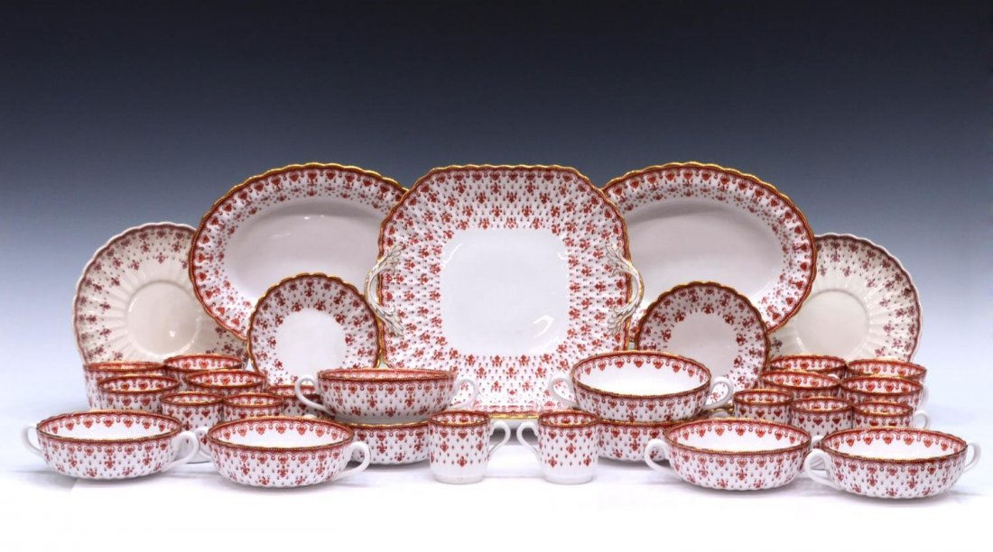 (96) SPODE FLEUR DE LYS RED BONE CHINA DINNER SET - 3