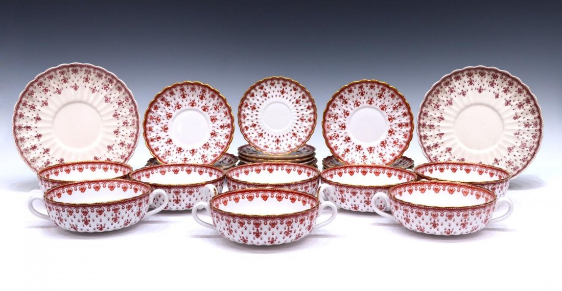 (96) SPODE FLEUR DE LYS RED BONE CHINA DINNER SET - 6