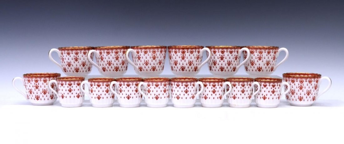 (96) SPODE FLEUR DE LYS RED BONE CHINA DINNER SET - 7