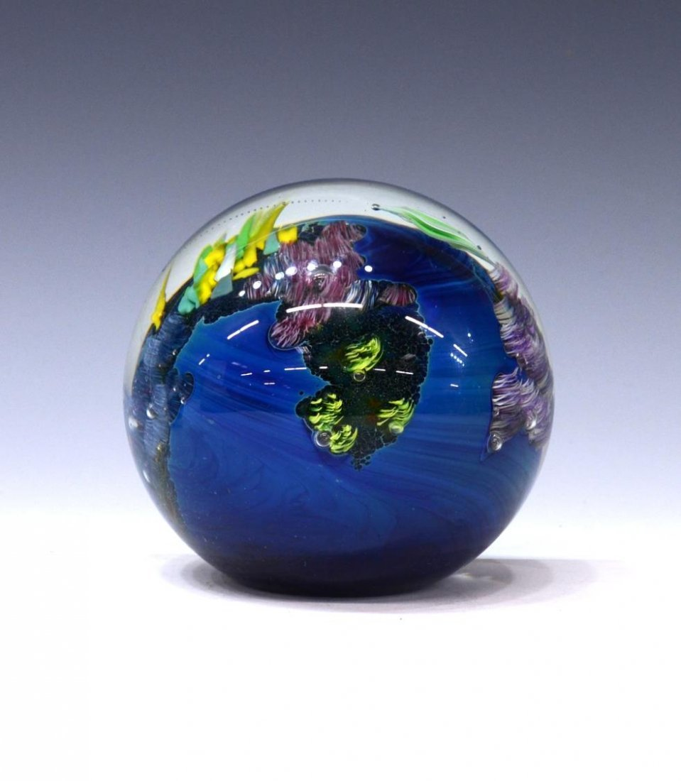 (3) JOSH SIMPSON ART GLASS PLANET PAPERWEIGHTS - 2