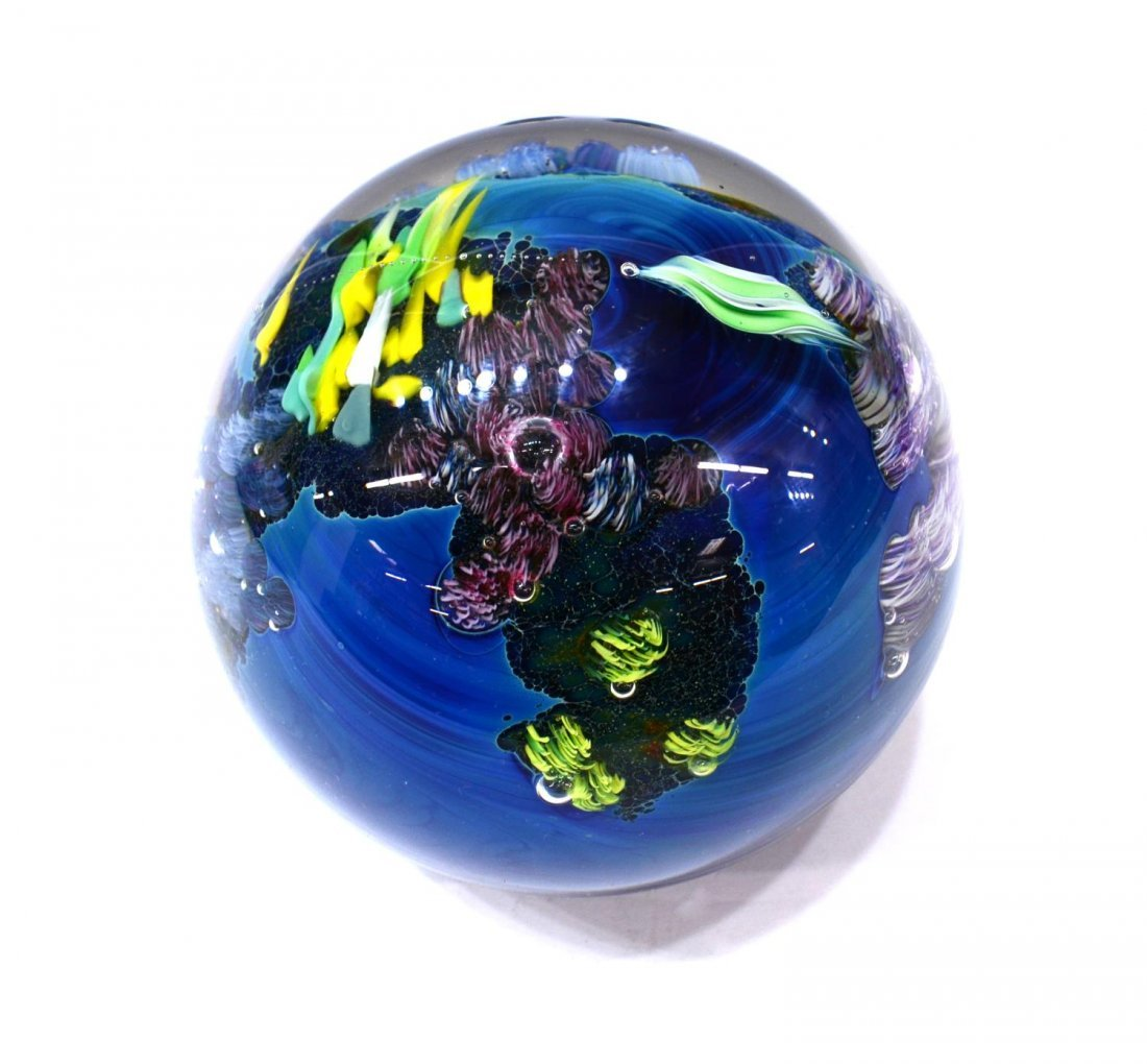 (3) JOSH SIMPSON ART GLASS PLANET PAPERWEIGHTS - 3