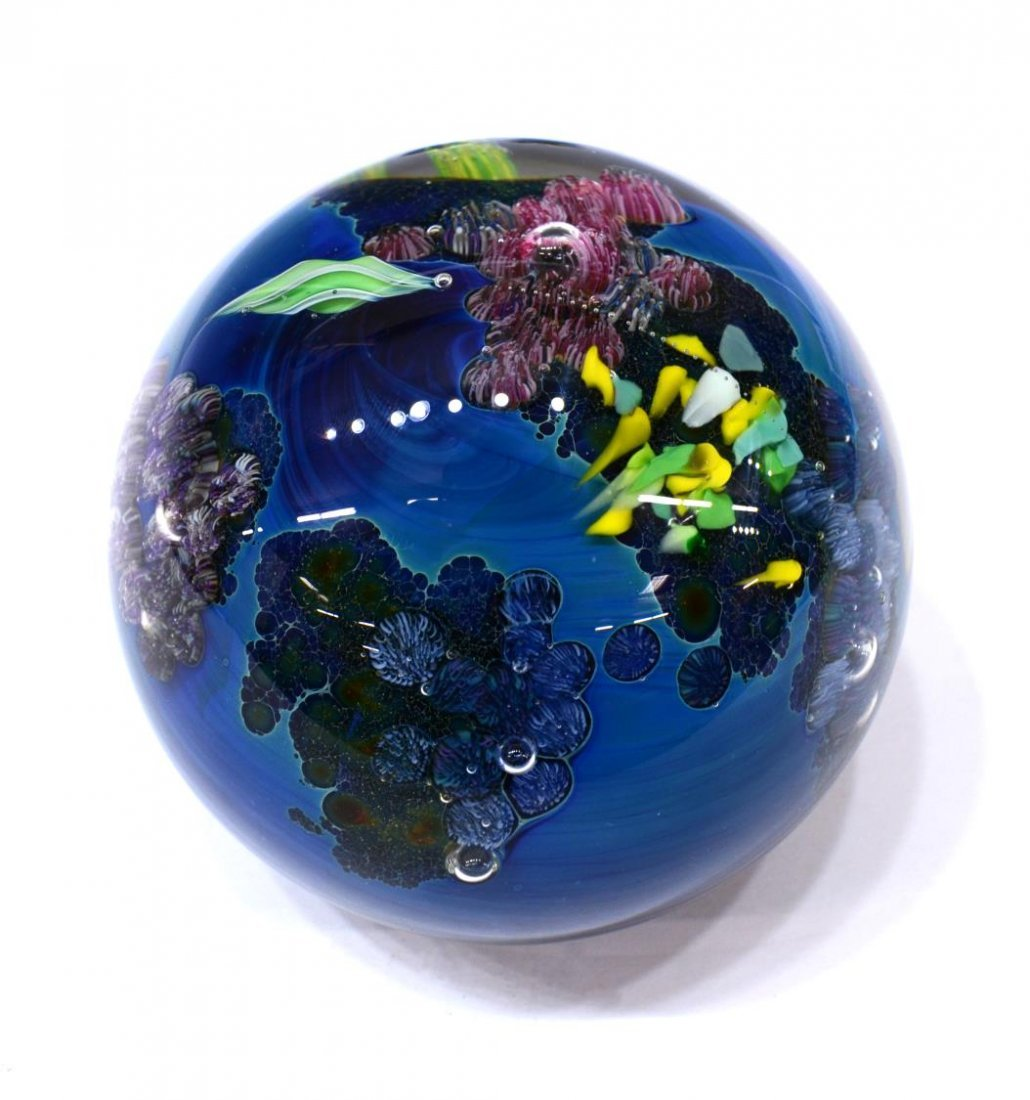 (3) JOSH SIMPSON ART GLASS PLANET PAPERWEIGHTS - 4